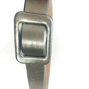 J. Crew Metallic Silver Leather Belt (SZ S/M)